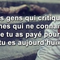 Les gens qui critiquent ta vie - Citation couverture FB