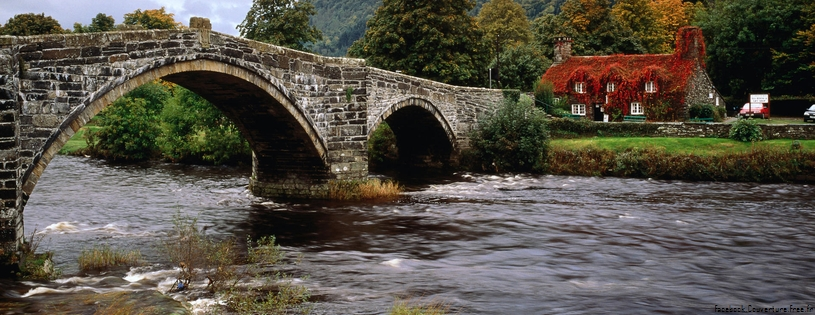 Cover FB  Llanrwst Bridge, Conwy River, Wales, United Kingdom