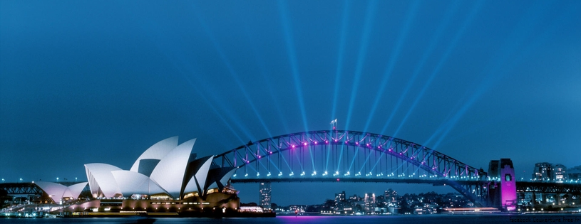 Cover FB  Sydney Opera House and Harbour Bridge at Dusk, Australia